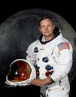 Flag of the United States on American astronau...