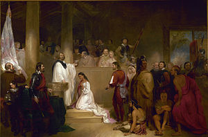 Whitaker (left, in white vestments) as portray...