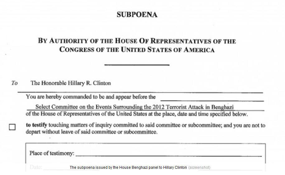 SubpoenaOfHillaryClinton