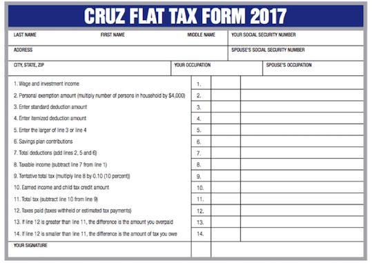 Cruz Flat Tax Form 2017 | Right Wing Granny